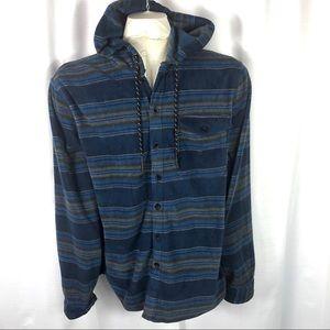 Billabong Men's Fleece Blue Button Up Hoodie